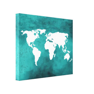white/blue map gallery wrapped canvas