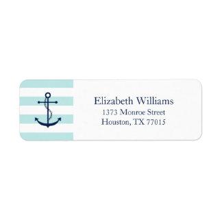 White Blue Mint Anchor and Stripes Return Address Label