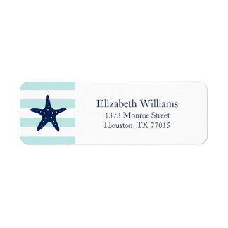White Blue Mint Stripes Starfish Return Address Label