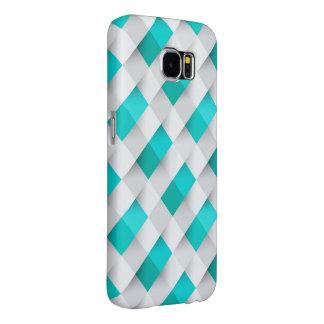 White Blue Mosaic Pattern Samsung Galaxy S6 Cases