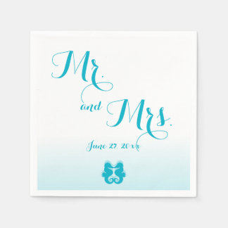 White Blue Mr. and Mrs. Seahorse Wedding Napkins Paper Napkin