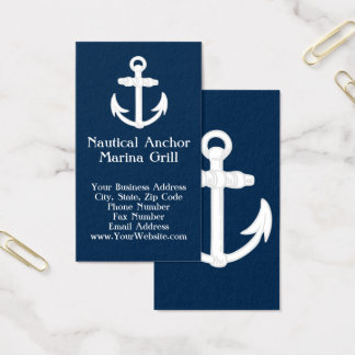 White/Blue Nautical Anchor Symbol Business Card