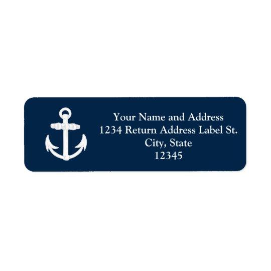 White/Blue Nautical Anchor Symbol Return Address Label