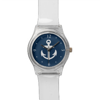 White/Blue Nautical Anchor Symbol Wrist Watch
