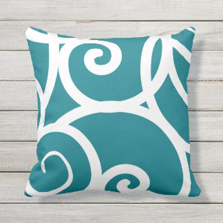 white + blue outdoor or indoor abstract pattern outdoor cushion