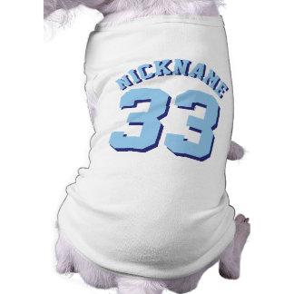 White & Blue Pets   Dog Sports Jersey Design Sleeveless Dog Shirt
