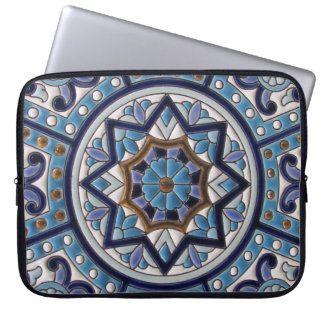White, Blue, Purple and Gold Ceramic Art Laptop Sleeve