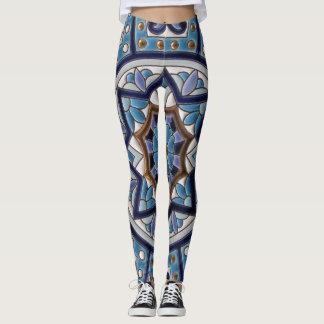 White, Blue, Purple and Gold Ceramic Art Leggings