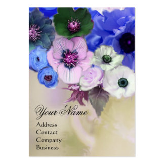 WHITE BLUE ROSES AND ANEMONE FLOWERS MONOGRAM BUSINESS CARD TEMPLATES