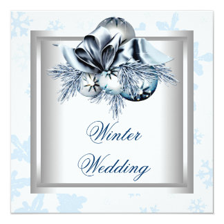 White Blue Snowflake Blue Winter Wedding Card