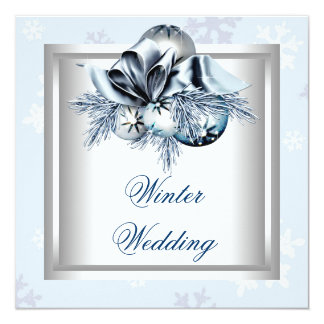 "White Blue Snowflake Blue Winter Wedding 5.25"" Square Invitation Card"