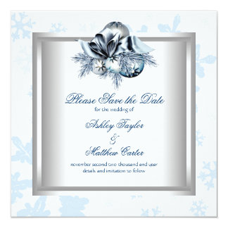White Blue Snowflake Winter Wedding Save the Date Card