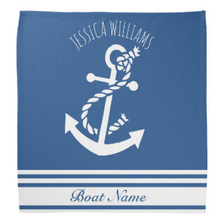 White & Blue Stripes nautical Boat Anchor Bandana