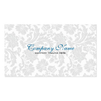 White Blue Vintage Floral Damasks Business Cards