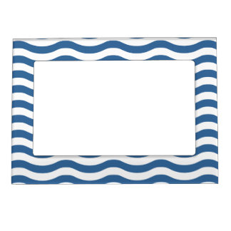 White Blue Wave Navy pattern Customize background Magnetic Frame