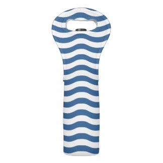White Blue Wave Navy pattern Customize background Wine Bag