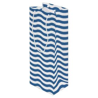 White Blue Wave Navy pattern Customize background Wine Gift Bag