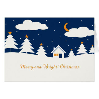 White Blue Winter Christmas Time Greeting Card
