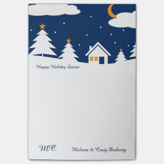 White Blue Winter Christmas Time Post-it® Notes