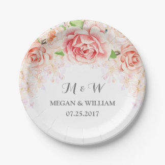 White Blush Pink Watercolor Floral Wedding Plate 7 Inch Paper Plate