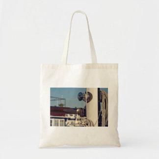 white boat sail pole budget tote bag