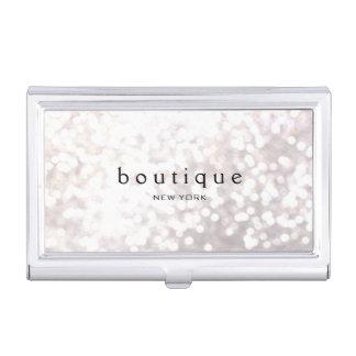 White Bokeh Glitter Modern Fashion & Beauty Business Card Cases