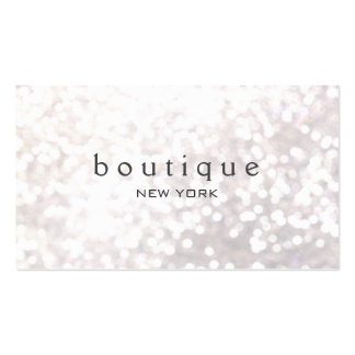 White Bokeh Glitter Modern Fashion Boutique Double-Sided Standard Business Cards (Pack Of 100)
