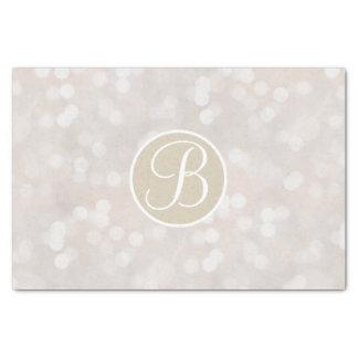 White Bokeh Lights Sparkle Monogram Letter Initial Tissue Paper