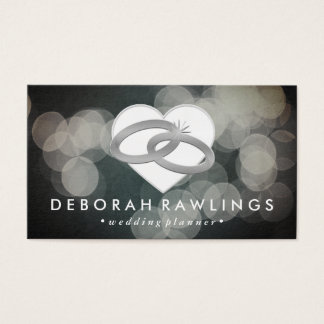 White Bokeh | Silver Wedding Event Planner Business Card