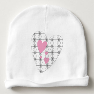 White bonnet of birth with pink hearts baby beanie