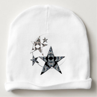 White bonnet of birth with stars with reason baby beanie