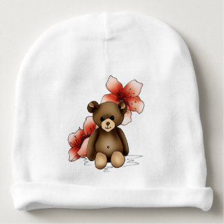 White bonnet of birth with teddy and flowers baby beanie