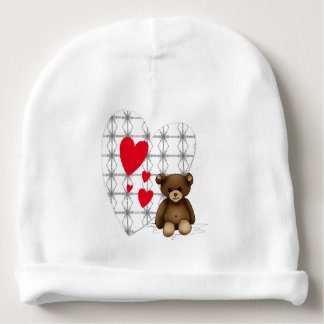 White bonnet of birth with teddy and hearts baby beanie