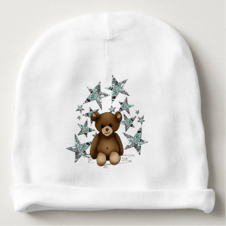 White bonnet of birth with teddy and stars baby beanie