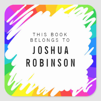 White bookplate rainbow scribble book sticker