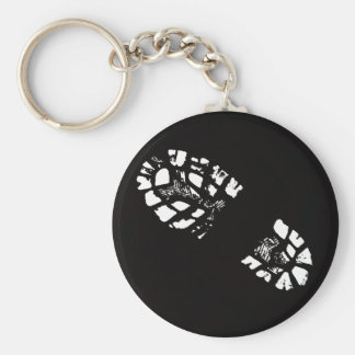 white Boot Print Key Ring