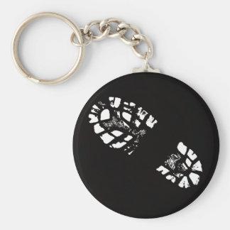 white Boot Print Key Ring