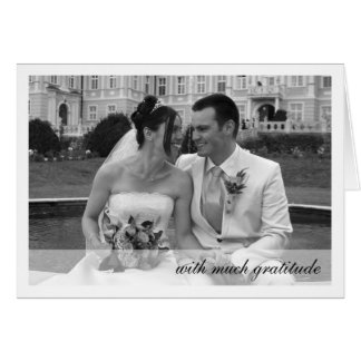 White border modern band photo thank you note note card