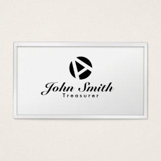 White Border Monogram Treasurer Business Card