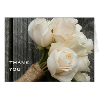 White Bouquet & Barn Wood Thank You Card