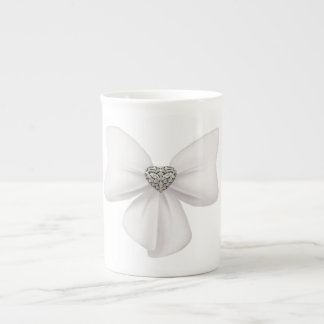 White Bow Bone China Mug