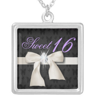 white bow diamond chandelier sweet sixteen silver plated necklace