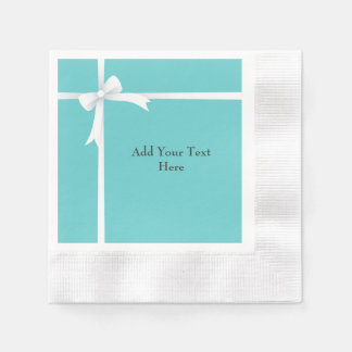 White Bow on Teal Blue Customizable Disposable Serviette