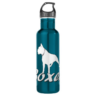 White boxer dog 710 ml water bottle