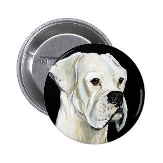 White Boxer Dog Art Button