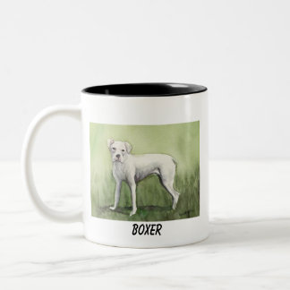 """White Boxer"" Dog Art Mug"
