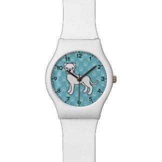 White Boxer Dog Cartoon Wrist Watches