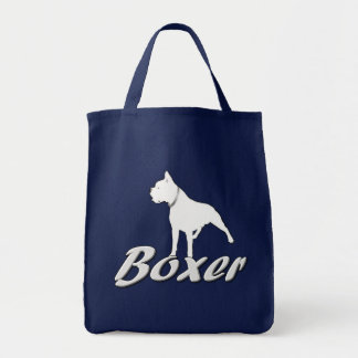 white Boxer Dog Tote Bag