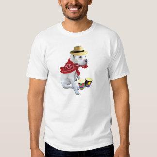 White boxer pup with Bongos t-shirt