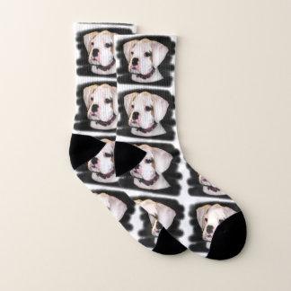 White Boxer puppy dog socks